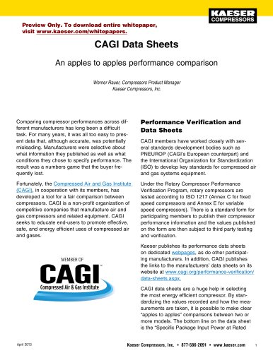 CAGI Data Sheets An apples to apples performance comparison