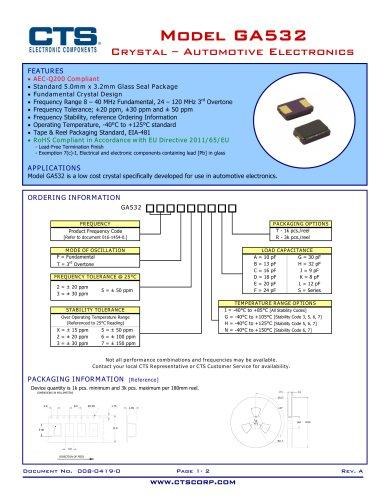 Model GA532 Crystal ? Automotive Electronics