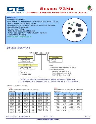 Series 73Mx Current Sensing Resistors ? Metal Plate