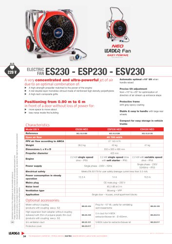ELECTRIC  FAN - ES230 - ESP230 - ESV230