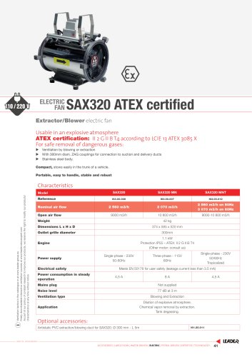ELECTRIC  FAN SAX320 ATEX certified