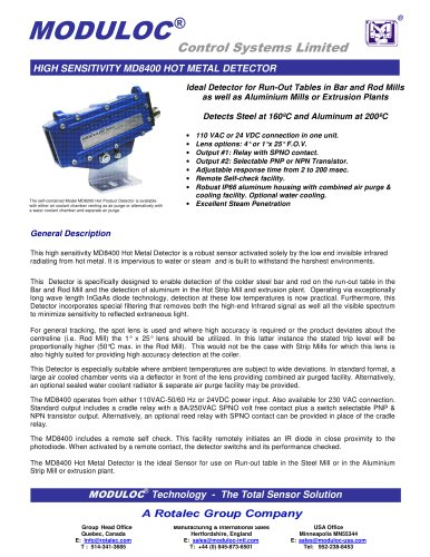High Sensitivity MD8400 Hot Metal Detector - MODULOC CONTROL