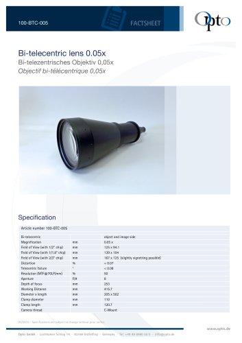 Bi-telecentric Lens 0,05x