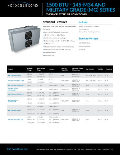 1500 BTU Military Thermoelectric Air Conditioner