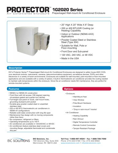 1G2020 Prepackaged Air Conditioned Enclosure
