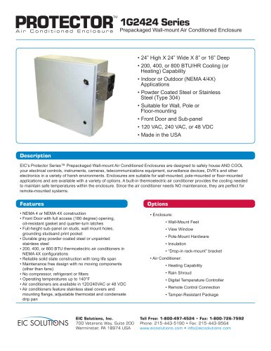 1G2424 Prepackaged Air Conditioned Enclosure