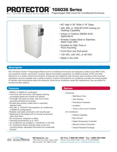 1G6036 Prepackaged Air Conditioned Enclosure