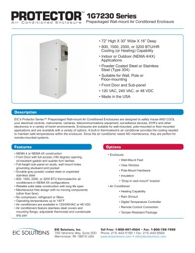 1G7230 Prepackaged Air Conditioned Enclosure