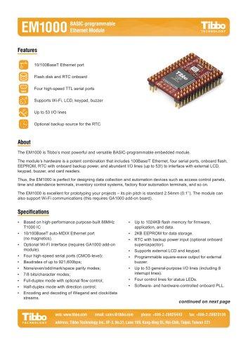 EM1000 BASIC-programmable Ethernet Module