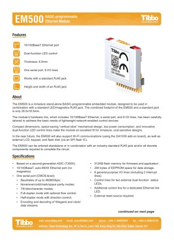 EM500 BASIC-programmable Ethernet Module