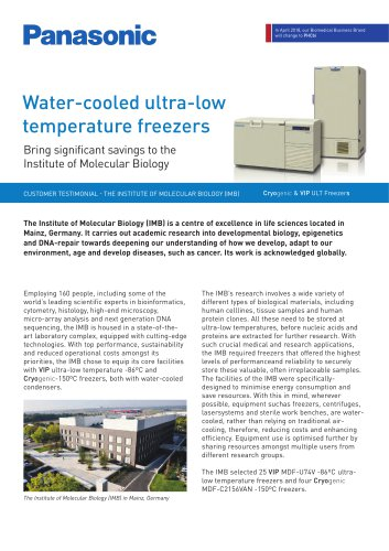 Cryogenic & VIP ULT Freezers water cooling Customer Testimonial - The Institute of Molecular Biology (IMB)