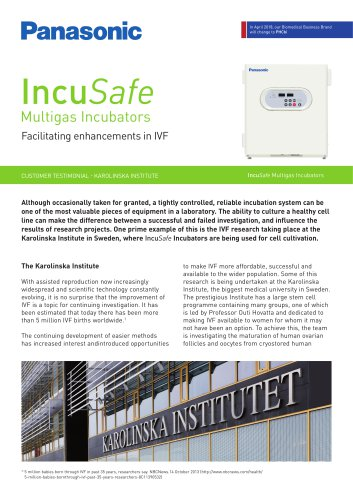 IncuSafe Incubators Customer Testimonial - IVF, The Karolinska Institute
