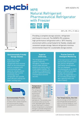 MPR-N250FH-PE Pharmaceutical Refrigerator with Freezer