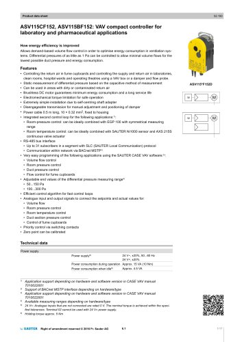 ASV115CF152, ASV115BF152: VAV compact controller for laboratory and pharmaceutical applications