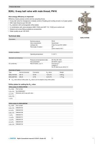 B2KL: 6-way ball valve with male thread, PN16