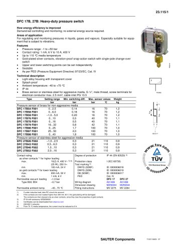 DFC 17B, 27B: Heavy - duty pressure switch