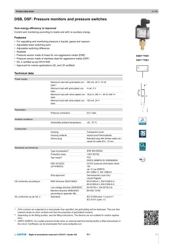 DSB, DSF: Pressure monitors and pressure switches