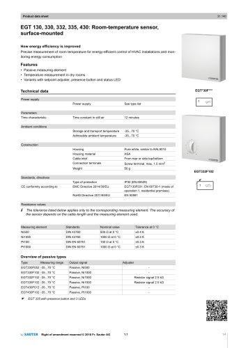 EGT 130, 330, 332, 335, 430: Room-temperature sensor,