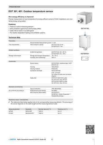 EGT 301, 401: Outdoor temperature sensor