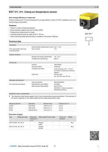 EGT 311, 411: Clamp-on temperature sensor