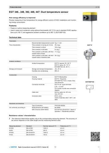 EGT 346...348, 392, 446, 447: Duct temperature sensor