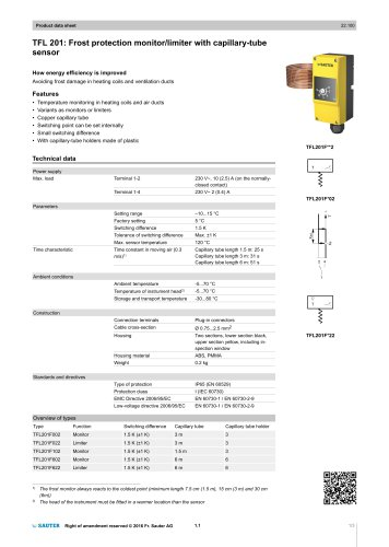 TFL 201: Frost protection monitor/limiter with capillary-tube sensor