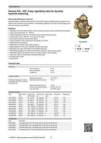 Valveco 010...032: 2-way regulating valve for dynamic hydronic balancing