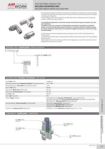 A100X PUSH-IN FITTINGS STAINLESS STEEL