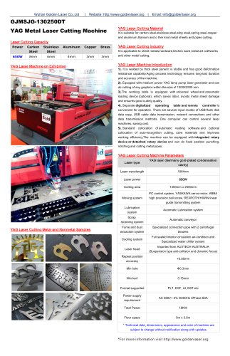 650W YAG Laser Metal Cutting Machine