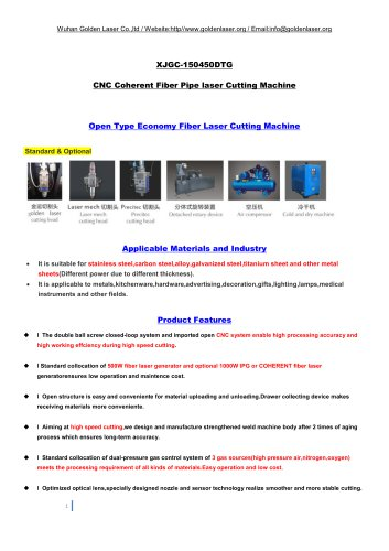 CNC Fiber Laser Pipe Cutting Machine XJGC-150450DTG