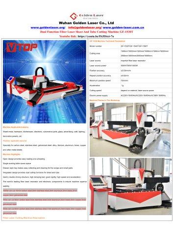 Dual Function Fiber Laser Metal Sheet And Tube Cutting Machine GF-1530T 500w 700w 1000w
