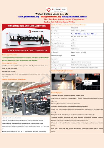 Fiber Laser Metal Tube Cutting Machine With Automatic Bundle Loader P2060A