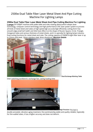 Golden Laser 2500W 1500W Dual Table Fiber Laser Metal Sheet And Pipe Cutting Machine GF-1530JHT For Lighting Lamps