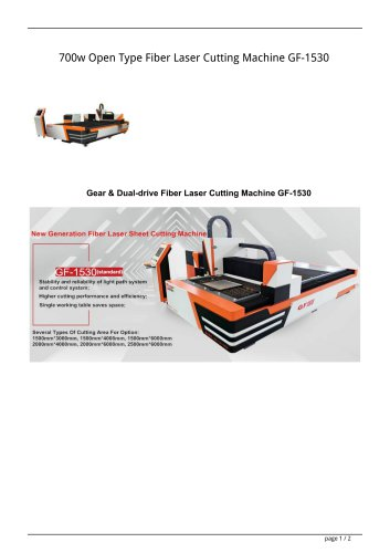 Golden Laser 700W 1000W 1500W Single table fiber laser cutting machine GF-1530