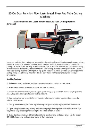 Golden Laser Dual Function Fiber Laser Metal Sheet Tube Cutting Machine GF-1530T