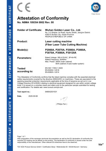 Golden Laser obtained the real CE certificate recognized by TÜV SÜD