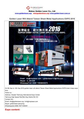 Golden Laser Will Attend Taiwan Sheet Metal Applications EXPO 2016