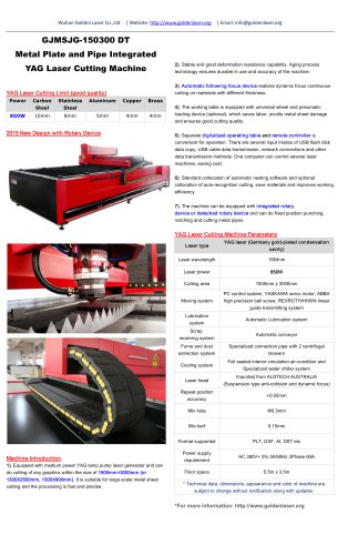 Pipe and Sheet Metal Integrated YAG Laser Cutting Machine