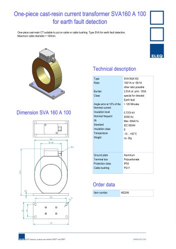 Current transformer for earthfault detection
