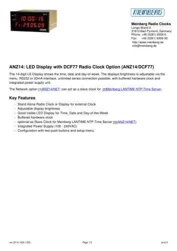 ANZ14: LED Display with DCF77 Radio Clock Option (ANZ14/DCF77)