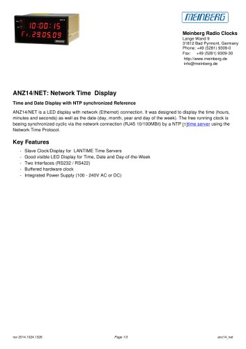 ANZ14/NET: Network Time Display