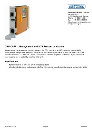 CPU-C05F1: Management and NTP Processor Module