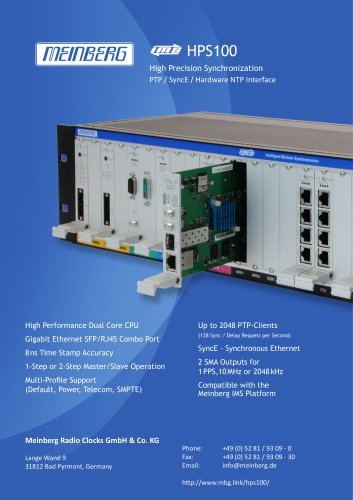 HPS100High Precision SynchronizationPTP / SyncE / Hardware NTP Interface