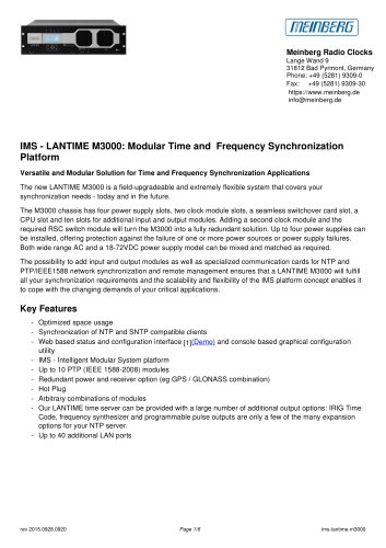 IMS - LANTIME M3000: Modular Time and  Frequency Synchronization Platform