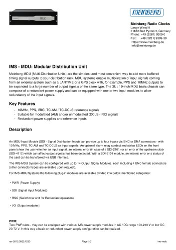 IMS - MDU: Modular Distribution Unit