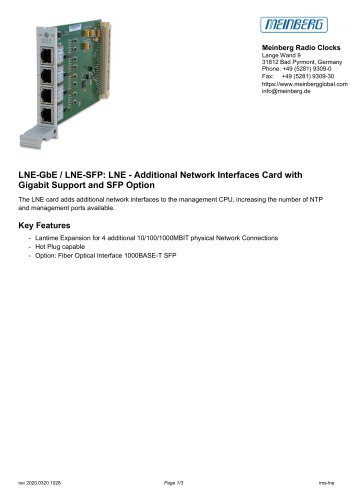 LNE-GbE / LNE-SFP: LNE - Additional Network Interfaces Card withGigabit Support and SFP Option