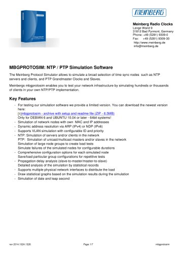 MBGPROTOSIM: NTP / PTP Simulation Software