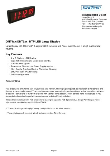 ONT4xx/ONT6xx: NTP LED Large Display