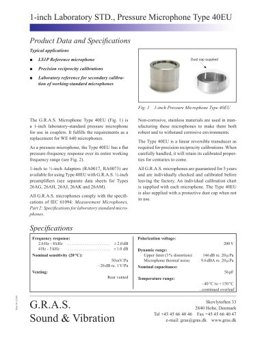 1-inch Laboratory STD., Pressure Microphone Type 40EU