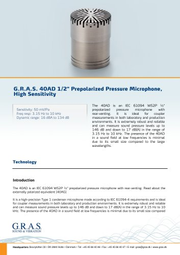 "G.R.A.S. 40AD 1/2"" Prepolarized Pressure Microphone, High Sensitivity"